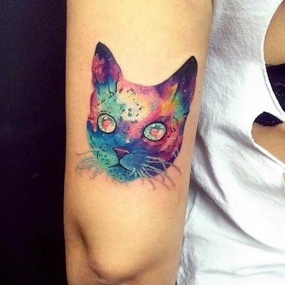 tatuagem de cabeça de gato colorida