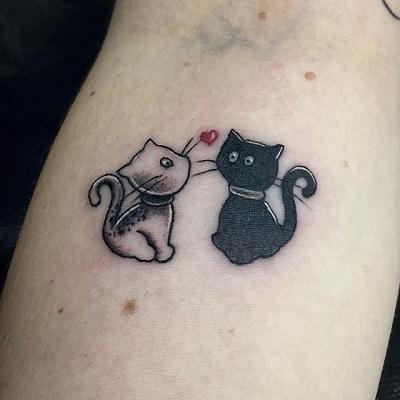 mini tatuagem de um casal de gatinhos
