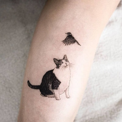 tatuagem de gato realista