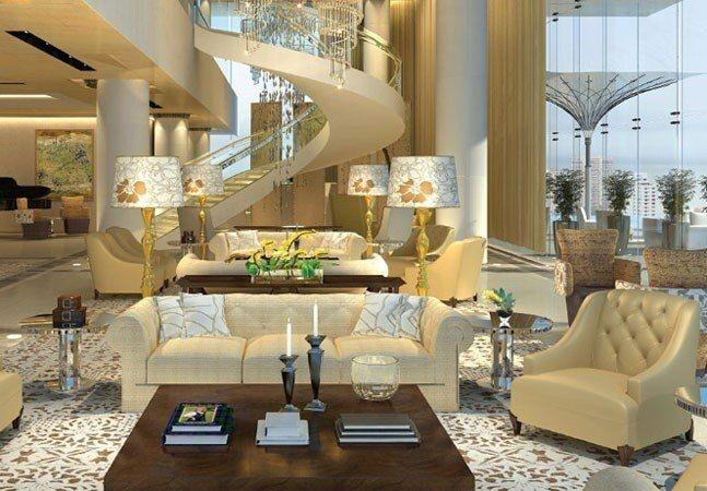 Luxuosa sala na casa Antilia